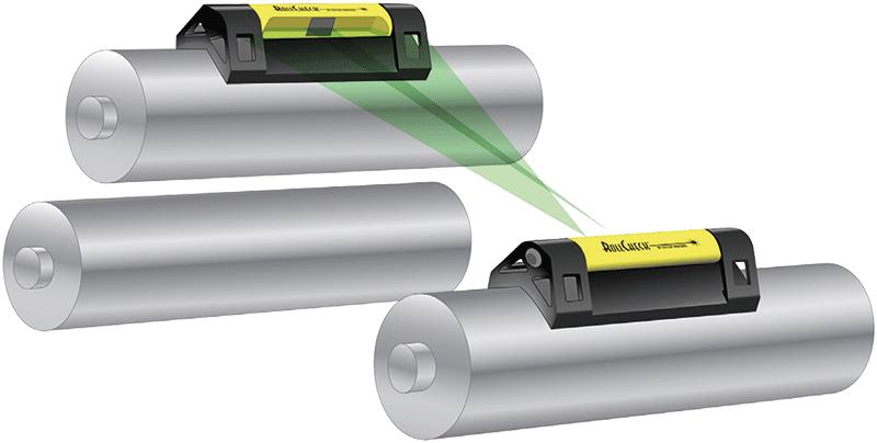 RollCheck Transmitter and RollCheck Reflector on rolls